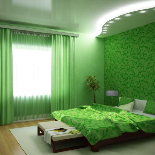 Зеленые обои дизайн комнат фото