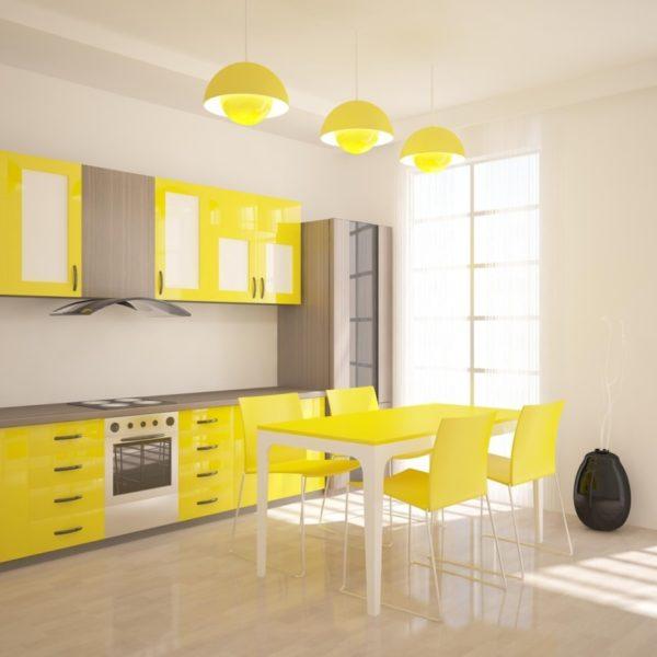 Сочетание цветов в интерьере кухни желтый